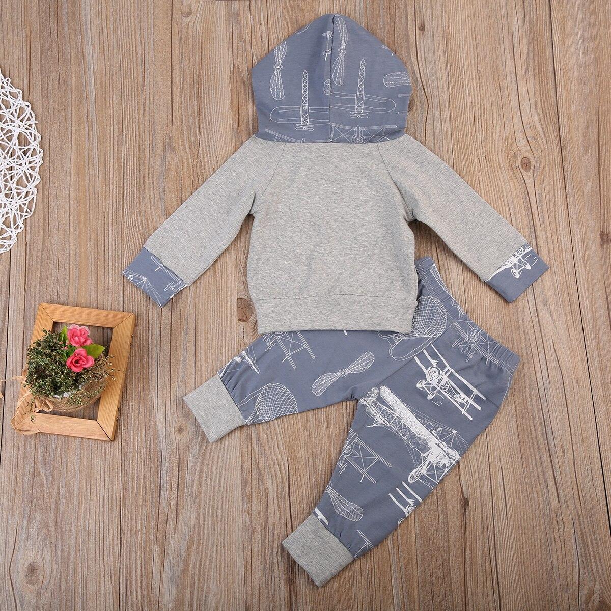 d41bdc178f2d Cute Infant Kids Baby Boy Girl Autumn Sets Grey Hoodie Sweatshirt+ ...