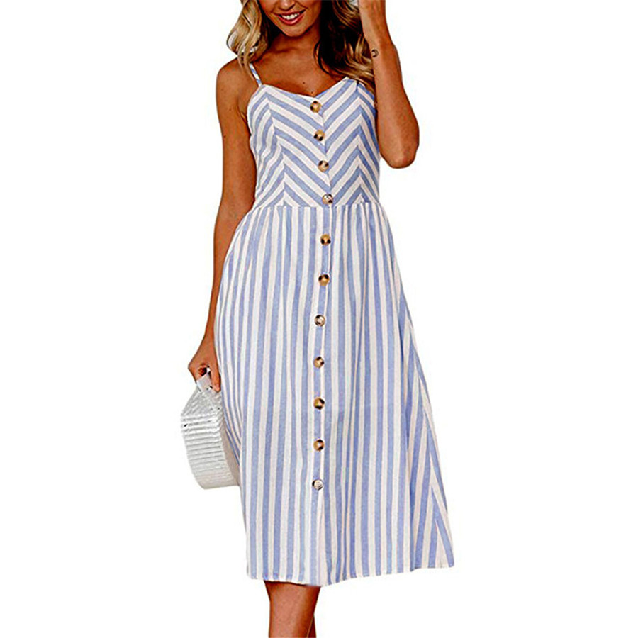 Summer Dress For Women Vintage Sexy Blue Stripe Dress New Spaghetti Strap Sundress Striped Print Female Midi Dress