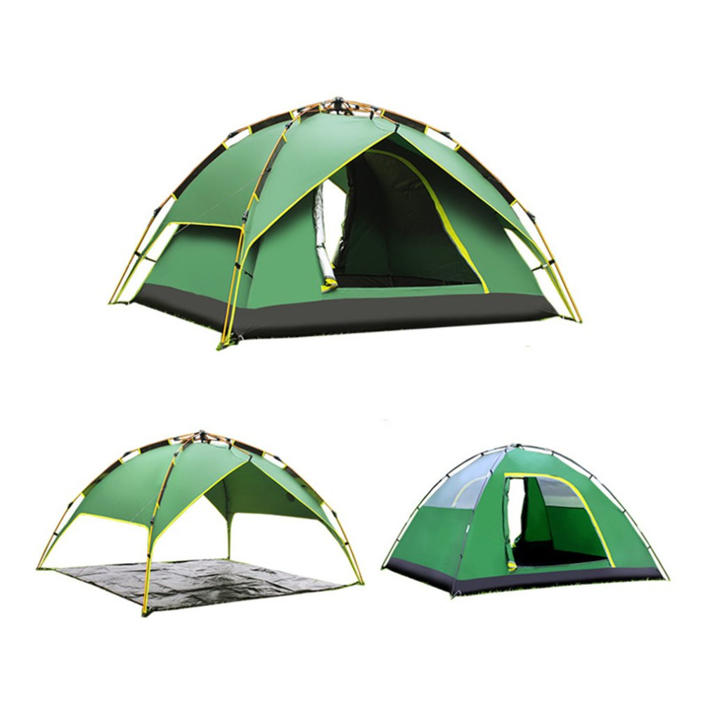 2/4 people Automatic Three-used Aluminium Rod Tent Portable Rainproof Tent Double Layers Outdoor Camping Hiking Tent Wholesale desertcamel thickened automatic tent portable rainproof three used tent double layers outdoor camping hiking tent drop shipping