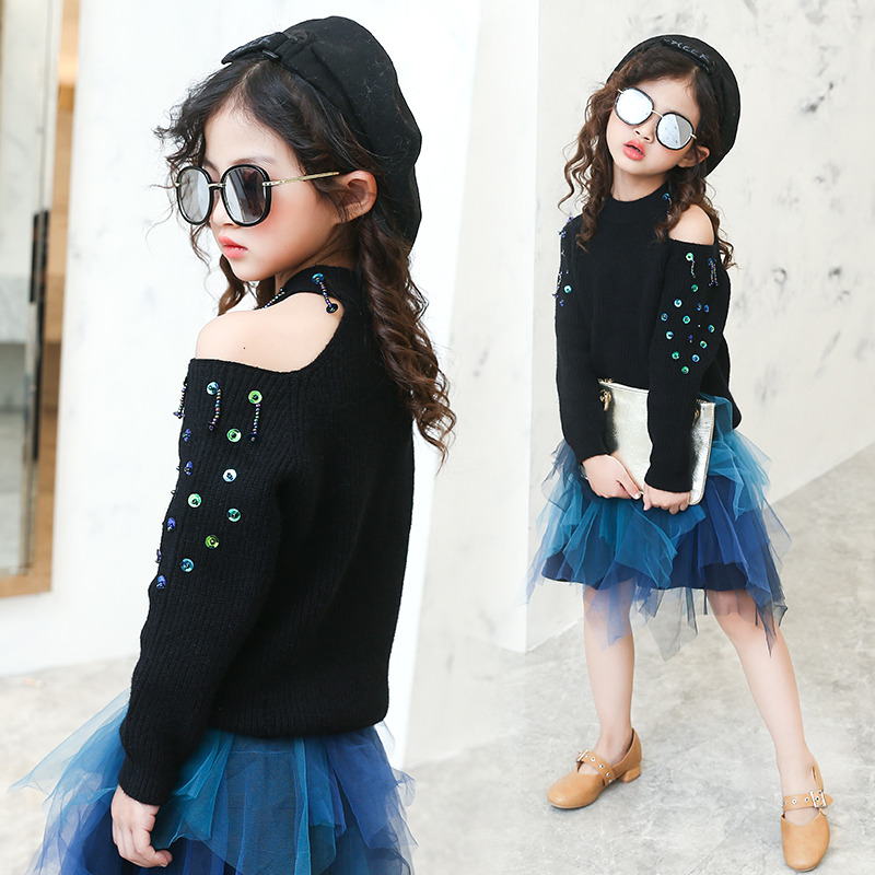 2017 New Fashion Off the Shoulder Europe Girls Sweater Children Tops Knitted Kids Clothes Cotton Outwear Pullover 10 11 12 13 14 pink knitted backless off shoulder sweater mini dress