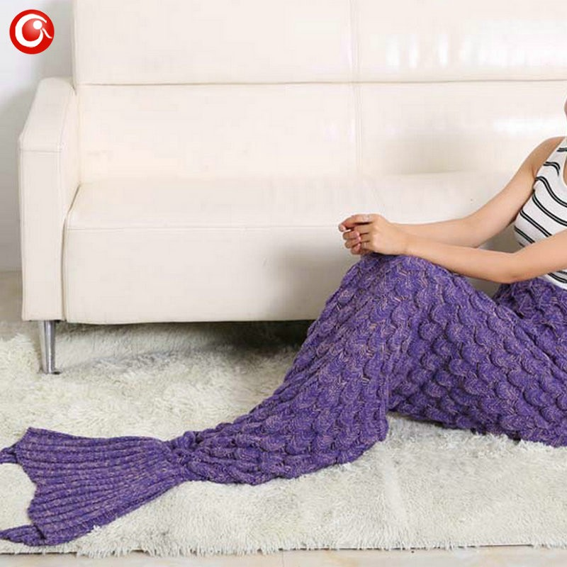 Baby Knitted Crochet Mermaid Blanket For Mother&Baby Infant Newborn Handmade Bed Wrap Throw Sleeping Bag Soft (5)