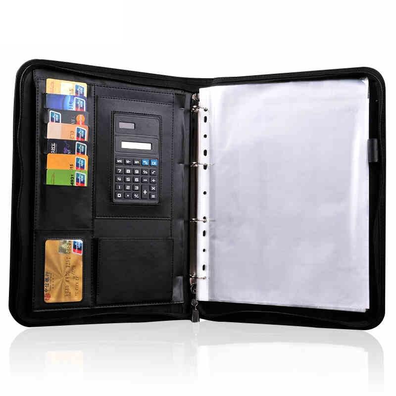 RuiZe couverture souple en cuir organisateur de dossier pour document multifonction A4 dossier gestionnaire de dossier padfolio avec calculatrice