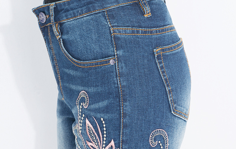 KSTUN FERZIGE Jeans Women High Waisted Pencils Pants Skinny Slim Fit Stretch Light Blue Embroidery Flowers Washed Femme Large Size 36 20