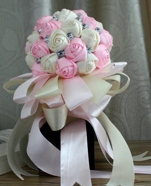 Розовый горный хрусталь искусственный свадебные букеты свадебное Accessoires мантия-де-mariage блан