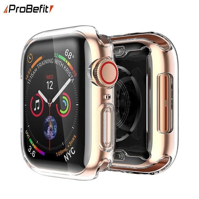 Прозрачный чехол для Apple Watch Series 3 2 1 38 мм 42 мм 360 Полный мягкий прозрачный TPU чехол для экрана для iWatch 4 44 мм 40 мм