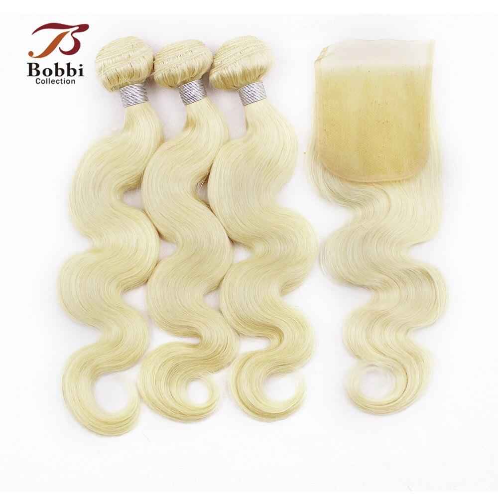Цвет 613 Bleach блондинка Реми Пряди человеческих волос для наращивания 2/3 Связки с кружевом Закрытие бразильского тело волна волос, плетение ...