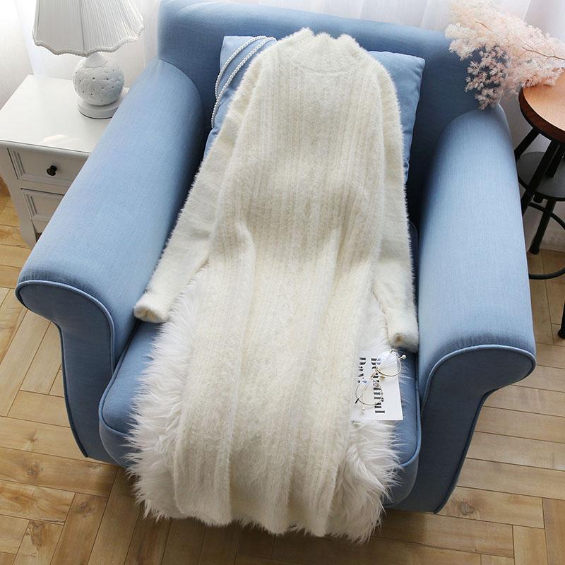 see See Nouveau Solide Pull Pulls Fourrure Femmes Manteau Et Chandails Automne Chart Tricoté Chart Tops 2019 Long Hiver Lâche Lady Outwear xwHwzfT8