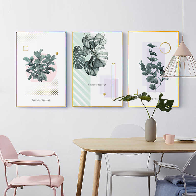 Nordic Modern Green Plant Series Pink Sweet Canvas Print Painting Poster Art Wall Pictures for Living Room Home Decor