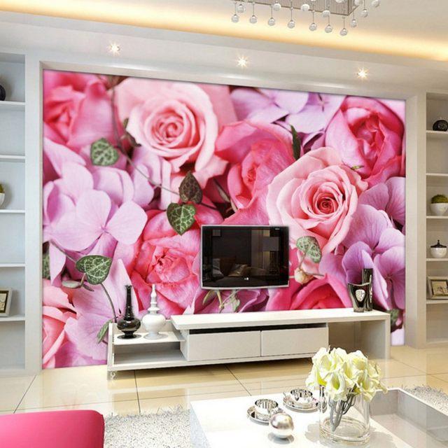 Online Shop Custom photo wallpaper Romantic roses TV background wall ...