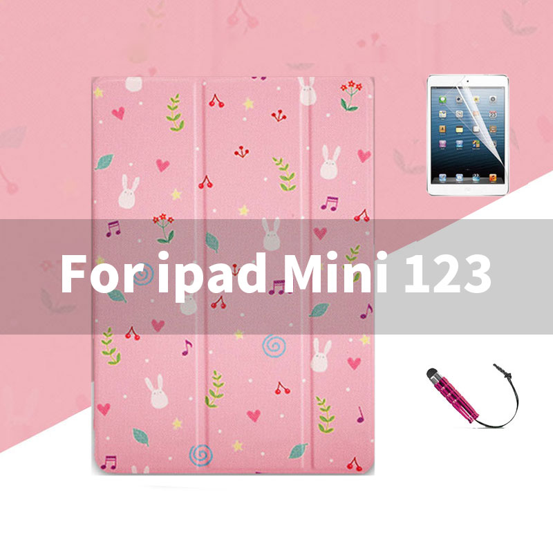 ipad Mini 123 Lovely pink pattern case wit 3stand for iPad 2,3,4, Mini 1,2,3,4, Air 1,2, 2018, 2017,