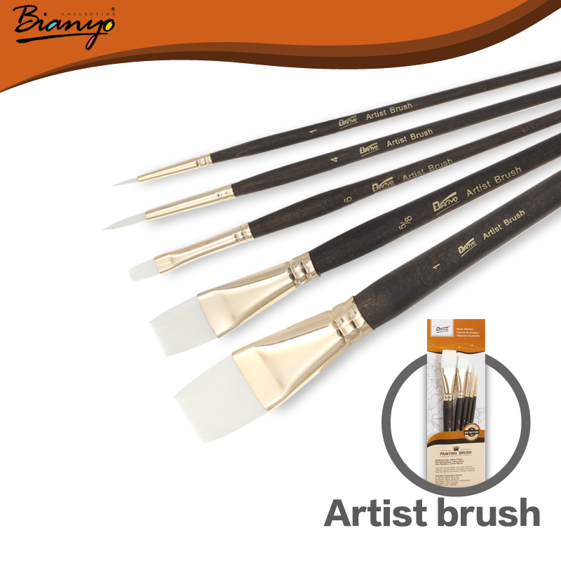 Bianyo 5pcs Professional Wood Paint Brush Watercolor Brush for Gouache Art Paint Brushes Artist Nylon Brushes Painting Supplies все цены