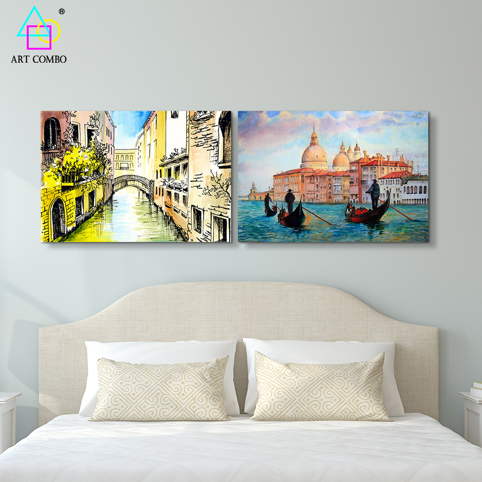 Watercolor art charming venice landscape painting canvas for living room wall home decoration for Landscape paintings for living room