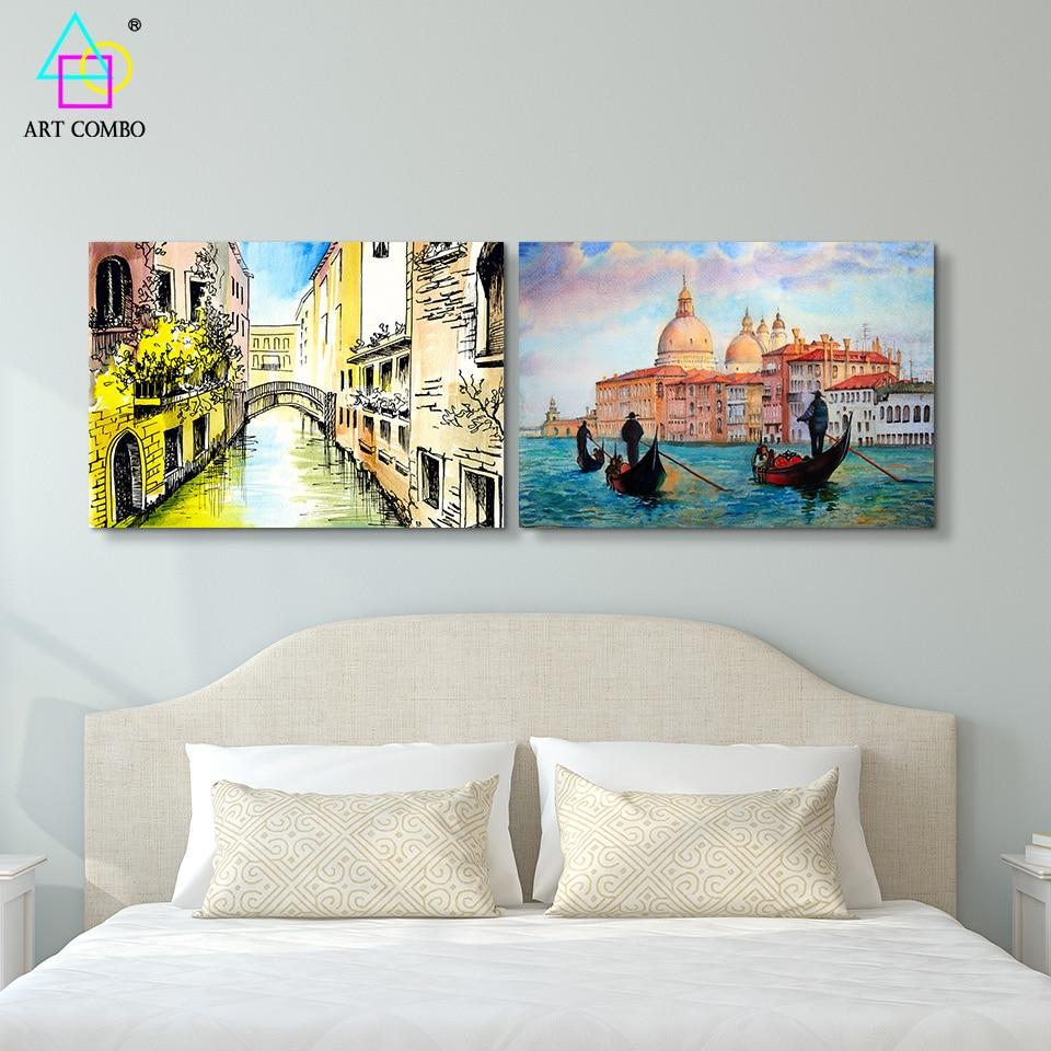 Watercolor Art Charming Venice Landscape Painting Canvas ... - photo#32