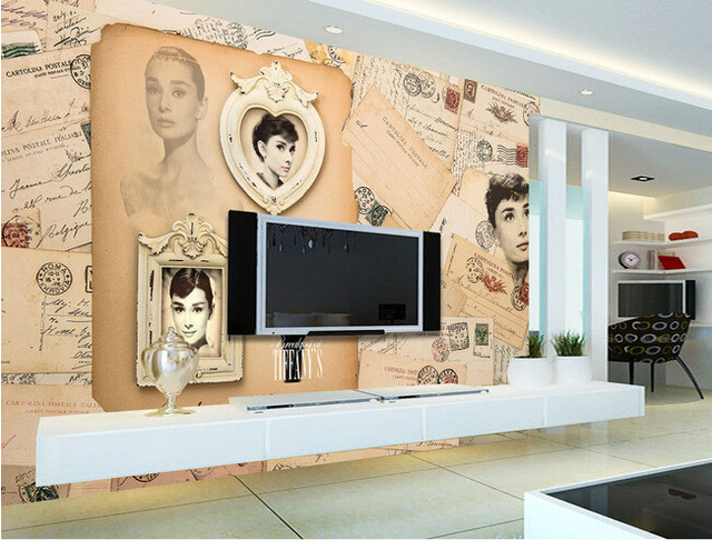 Custom vintage wallpaper audrey hepburn postcard wall murals for the living room bedroom tv background