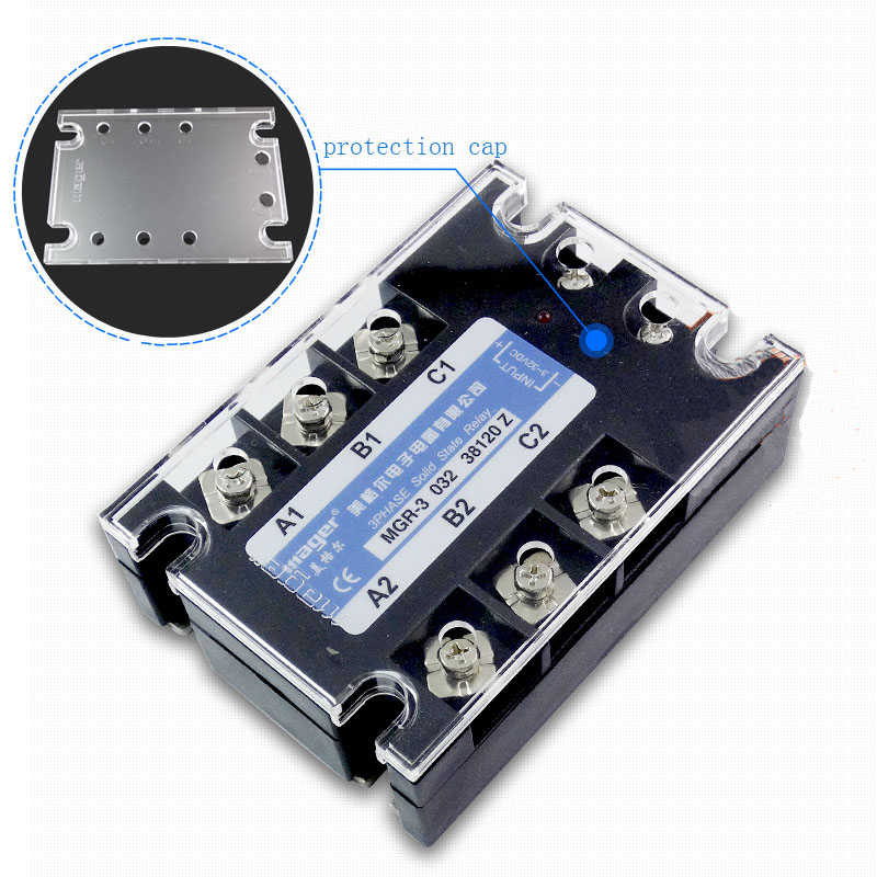 Free shipping 1pc 90A High quality Mager SSR MGR-3 032 3890Z DC-AC Three phase solid state relay DC control AC 90A 380V ssr 25a single phase solid state relay dc control ac mgr 1 d4825 load voltage 24 480v