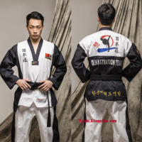 Martial Arts TKD Tae Kwon Do Korea V neck Taekwondo Dobok For Poomsae & Training,WTF Uniform,160 190cm Black And Blue