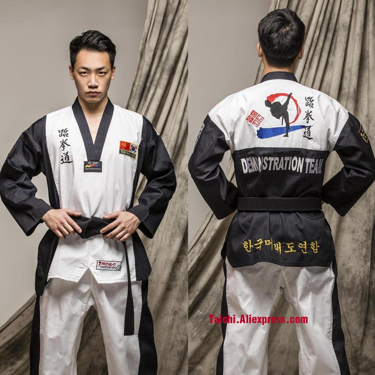 Martial Arts TKD Tae Kwon Do Korea V-neck   Taekwondo Dobok For Poomsae & Training,WTF Uniform,160-190cm Black And Blue