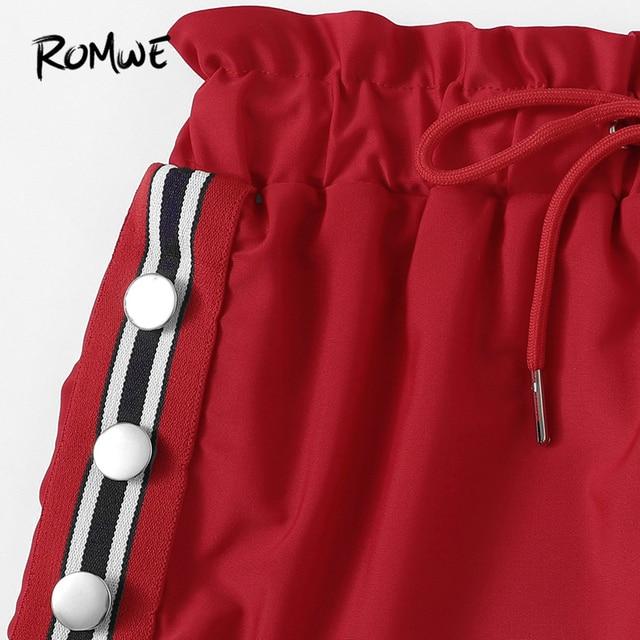 Romwe спорт красный комплект из 3 предметов пакет бикини комплект полосатой отделкой Треугольники бюстгальтер с трусиками и Пляжные шорты Для... 4