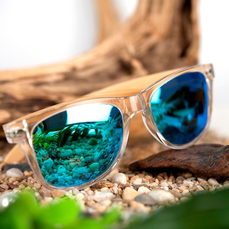 BOBO BIRD Wood Bamboo Polarized Sunglasses Clear Color Women's Glasses  With UV 400 oculos de sol feminino C-CG008
