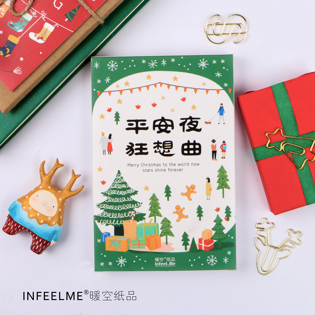 30 pcs/pack Merry Christmas Songs Greeting Card Postcard Birthday Gift Card Set Message Card Letter Envelope Gift Card Xmas
