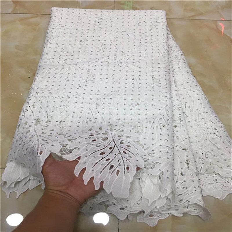 2018 New Design African Lace Fabric Guipure Lace White French Net Laces Fabric With Stones High
