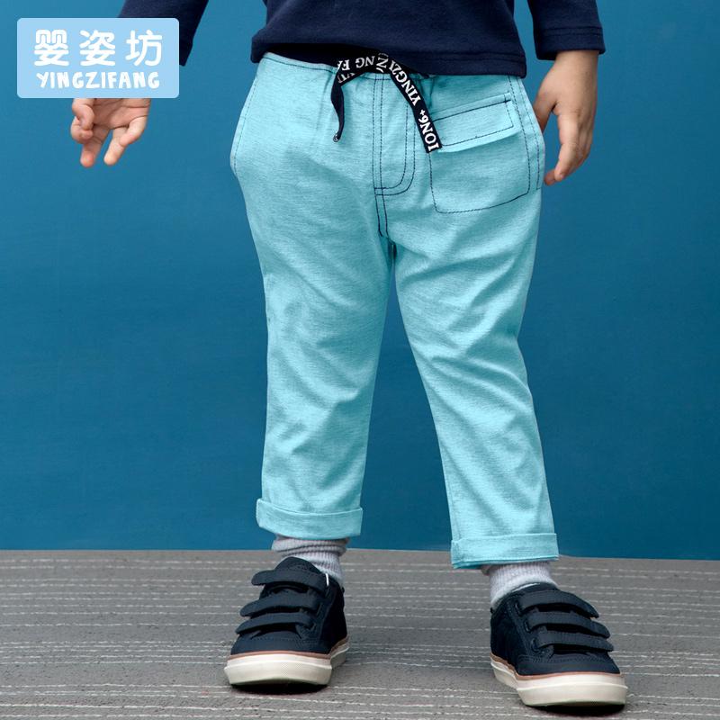 2017 Sale Limited Solid Boys Pockets Straight Mid Yingzifang Boys Chino Pant Cotton Casual Kids Pants Trendy Elastic Waist