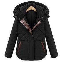 Женская мода Зима Толстые Теплые Ватник Короткий Абзац Пальто Съемная Hat