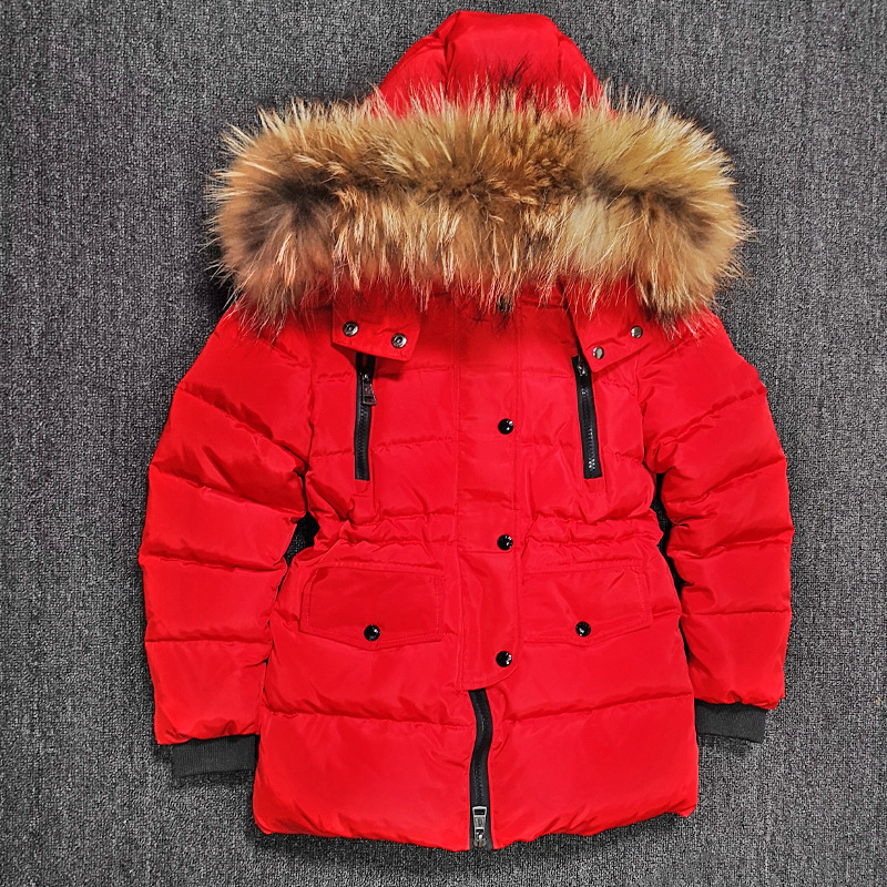 2018 New Boys Girls Long Clothes Children Baby Big Nature Fur Collar Down Jacket Fashion Hoodie Thicken Winter Warm Coat Outwear 2017 fashion winter jacket coat women long thicken down cotton padded faux big fur collar warm female outwear parkas woman