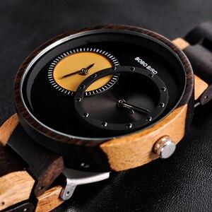 Image 2 - BOBO BIRD Two Time Zone Display Wood Watch Men Relogio Masculino Luxury Wristwatch Women Anniversary Grooms Gift Wooden Box R10