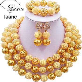 Laanc Fashion Beige African Beads Necklace Jewelry Set Nigerian Wedding Indian Bridal Jewelry Sets 3CZJ006