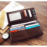 LANSPACE men's wallet leather men long wallet bag men's wallet leather handmade wallet