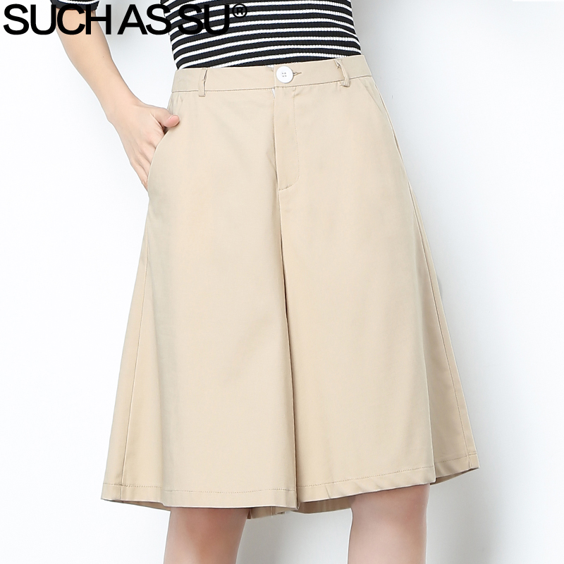 New Spring Summer 2018 Cotton Linen Wide Leg Pants Women Black Beige Mid Waist Knee Length Pants S 3XL Loose Culottes Pants