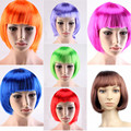 Hot Sale Halloween Colorful Short Hair Wigs Peruk Straight Full Bob Wig for Women Synthetic Fiber Party Cosplay Wig Pelucas