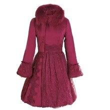 Зимняя женская парка размера плюс 3XL, милые женские пальто с кружевным накладным меховым воротником, с длинным рукавом, с хлопковой подкладкой, с высокой талией
