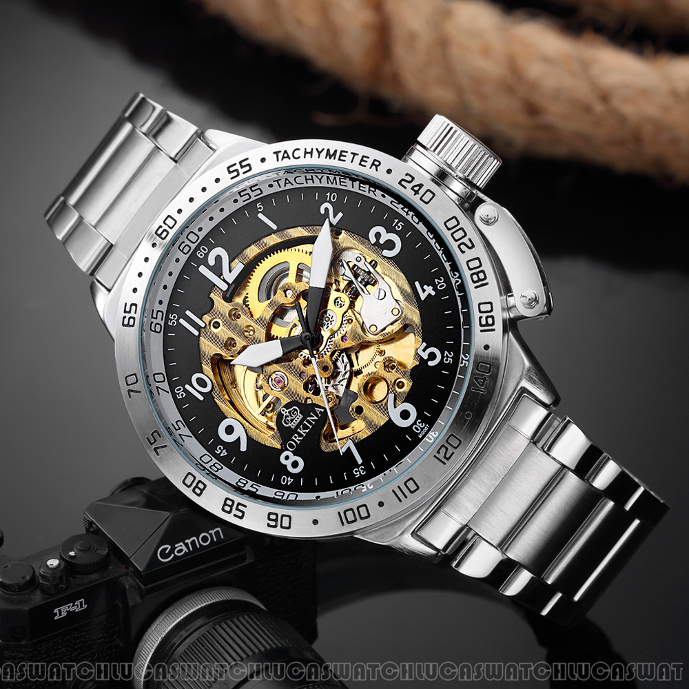 MG.ORKINA MG Top Brand Men Watches Fashion Skeleton Watch Automatic Mechanical Stainless Steel Watch reloj hombre automatico mce men watches automatic mechanical gold male skeleton wrist watch stainless steel band luxury brand reloj automatico hombre