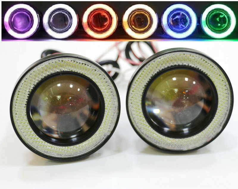 1 Pair 3.5 3.0 2.5 inch COB Angel Eyes Fog Lights Led Car Headlight Lamp DRL Universal Auto Daytime Running Light 89mm 76mm 64mm 1pair white 80mm cob car led angel eyes drl daytime running headlight halo ring driving lamp auto blub with cover 63 chips 12v