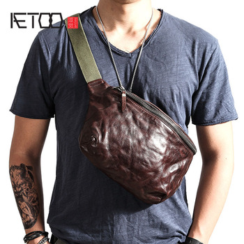 AETOO Vintage Messenger Bag Leather Pocket Youth Ami Men's Bag vintage genuine leather cowhide Top Layer Leather Chest Bag фото