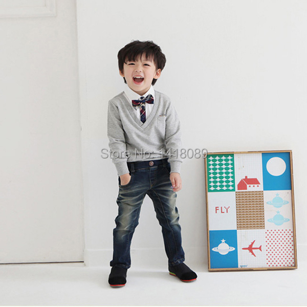 2017-New-Kids-Boys-School-Bow-Tie-Long-Sleeve-Pullover-Sweater-Knit-Wear-Knitted-1-4T-1