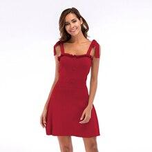купить Sexy Lace Up Sleeveless Summer Dress Women Casual Button Ruffles Solid Knitted Dress Women Backless Mini Tank Top Dress Femme по цене 576.4 рублей