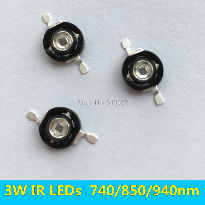 3 PCS 3W Infrared IR High Power LEDs Emitter CCTV Camera IR Diode for Security Black LEDs Red 740nm 850nm 940nm 3W 700mA