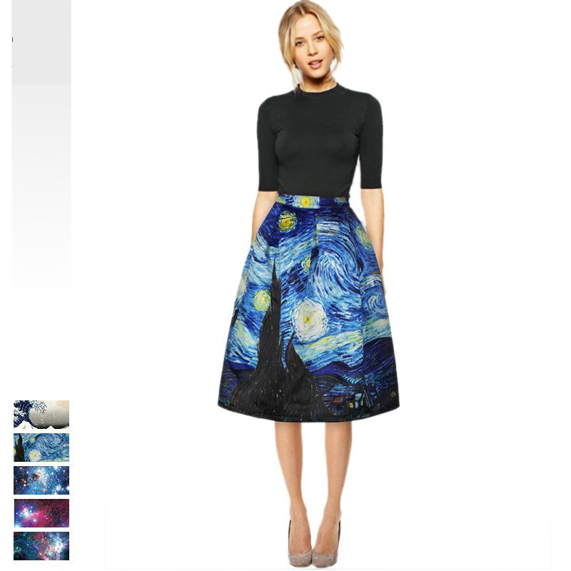 New Vintage Skirt  For Women Van Gogh Starry Night 3d Print Elegant Work Wear Midi Skirts Womens Painting Jupe Femme Saias Hot