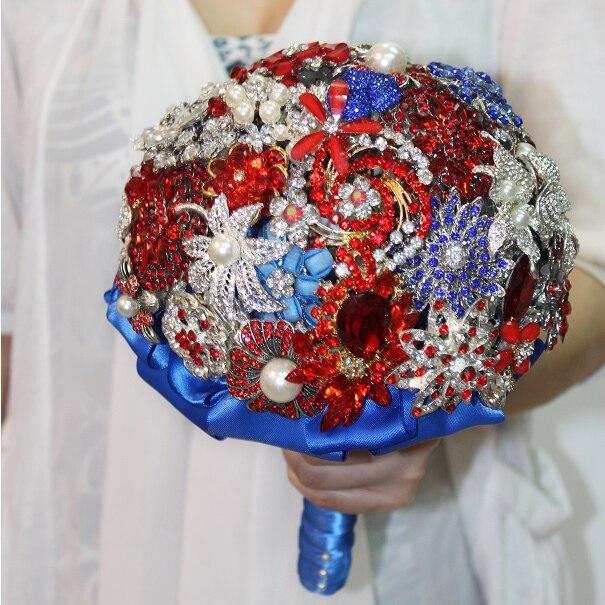 Красные и синие ювелирные изделия столкновения, держащие цветы, свадебная брошь букет невесты для красной и синей свадьбы Специальный