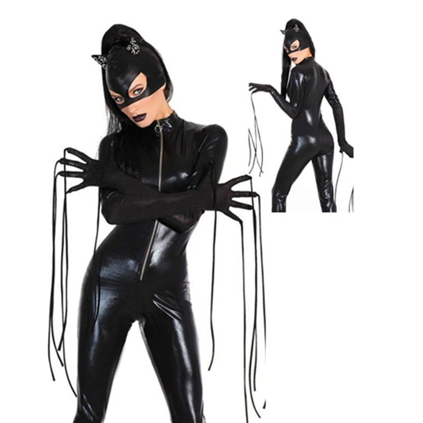 Abbille New Sexy PVC Latex Catwoman Catsuit Halloween Costume hot Women Black Faux Leather Zipper front Jumpsuit With Mask 2018