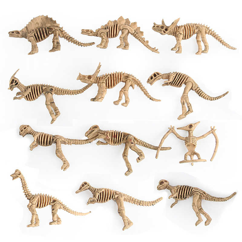 12pcs/set Dinosaurs Toys Plastic Animal model Skeleton Fossil Skull Skeleton Action Figure Gift Collection Toys For Children #H