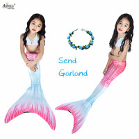 5PCS/Set Kids Girls Mermaid Swimming Tail Swimsuit Cute Gradient Colors Tail Strechable Lycra Sexy Cosplay Costumes for Girls