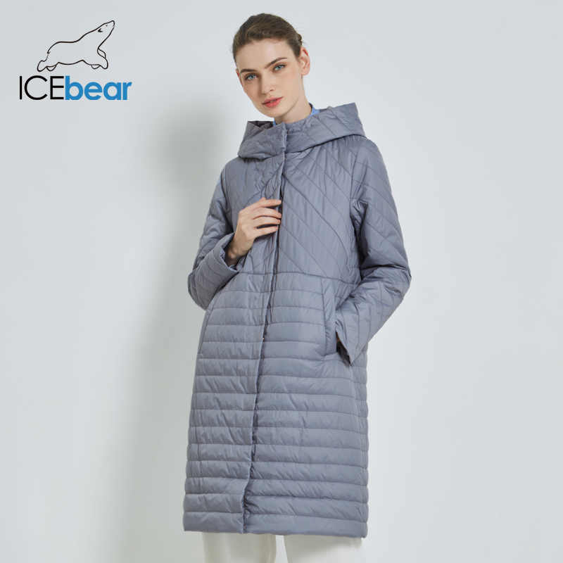 ICEbear 2019 New Long Women's Autumn Coat Casual Female Coats Hooded Women's Clothing Long Brand Jacket with Zipper GWC19039I