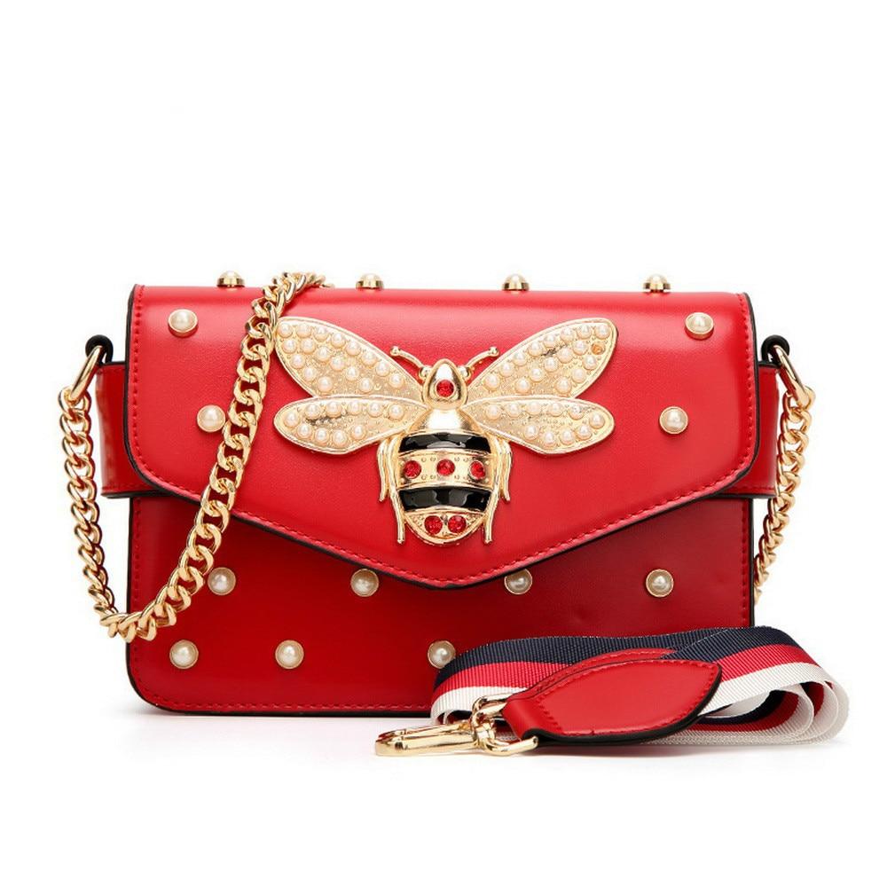 Saco Do Mensageiro Das Mulheres de Couro Nova Marca de moda Feminina Bolsa de Ombro Mulher Bolsas Sacos Alça de Luxo Diamante Little Bee Rosa Vermelha