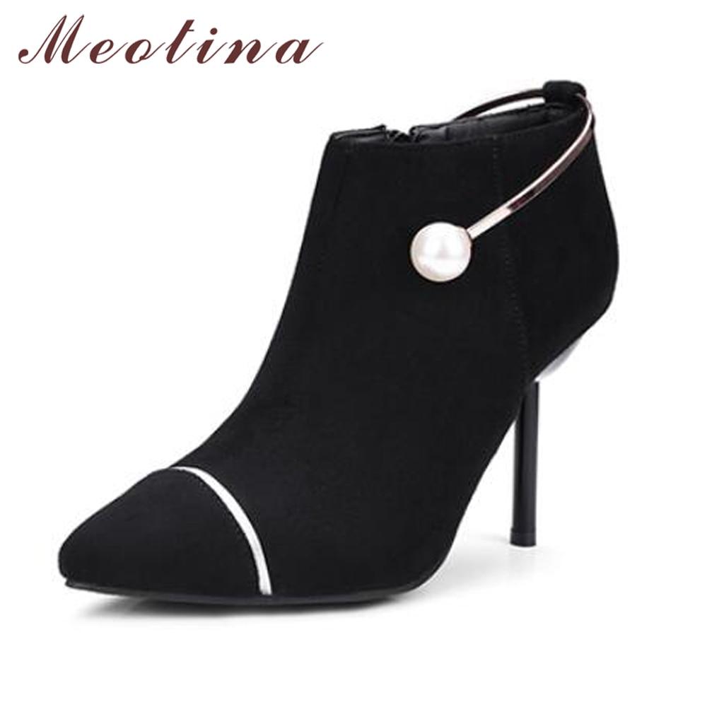 2602fd3f542c00 De Lining black Hauts Lining Velvet 33 Femmes Bout D'hiver 46 Fur Fourrure  Pointu Bottes Black Talons Grande Taille wine Chaussures ...