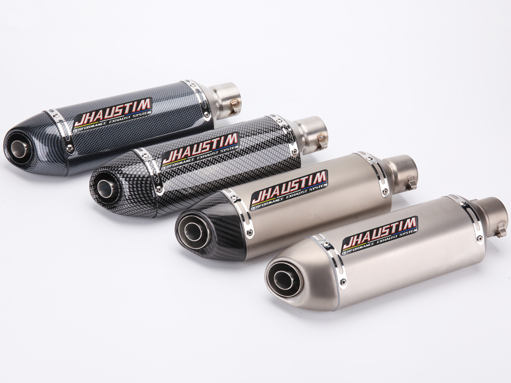 JHAUSTIM 2 inch Inlet 51mm Motorcycle Muffler Exhaust Escape Stainless Steel Universal Motorbike Exhaust Mufflers with DB Killer