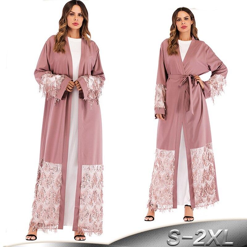 Abaya Kaftan Robe Dubai Arab Islam Sequined Muslim Hijab Dress Jilbab Qatar UAE Abayas For Women Caftan Turkish Islamic Clothing